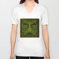 maori V-neck T-shirts featuring Maori style 01 by Alexis Bacci Leveille