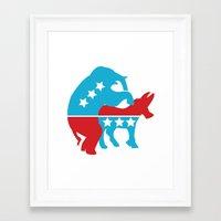 politics Framed Art Prints featuring Politics by Mike Stark