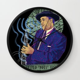 Jazz legend Lester Young Wall Clock