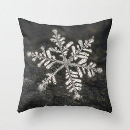 Freshly Fallen Snow Flake. Macro Photography Throw Pillow