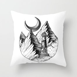 A lighthouse in a stupid place Throw Pillow