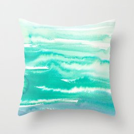 Modern hand painted teal turquoise watercolor brushstrokes Throw Pillow