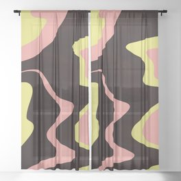 LIQUORICE swirls of black candy with pink yellow saltwater taffy Sheer Curtain