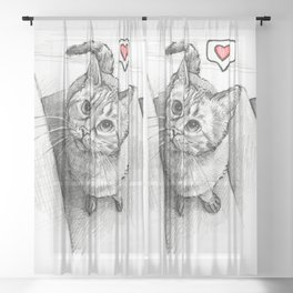Cute Kitty Cat - Love Me Sheer Curtain