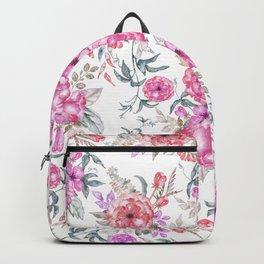 Modern Bohemian pink coral lavender watercolor flowers Backpack