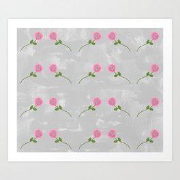 Repeating Pink Daisies Art Print