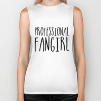 fangirl Biker Tanks featuring Professional fangirl by bookwormboutique
