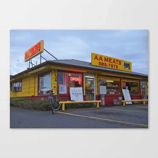 Neighborhood meat market Canvas Print