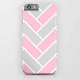 Chevron Pattern Pink and Grey #pink iPhone Case