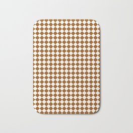 Small Diamonds - White and Brown Bath Mat
