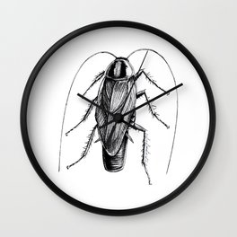 Cockroach Pen Art Drawing Wall Clock