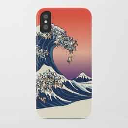 The Great Wave of Pugs / Square iPhone Case