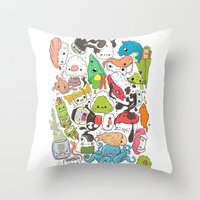 nori Throw Pillows featuring Sushi Bar: Point of Nori-turn by ieIndigoEast