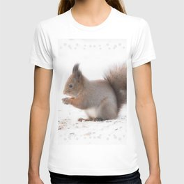 Squirrel And Lunch Pause Winter Scene #decor #society6 #buyart T-shirt