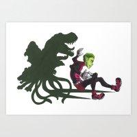 teen titans Art Prints featuring Teen Titans: Beast Boy by JaDis