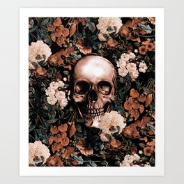 SKULL AND FLOWERS II Art Print