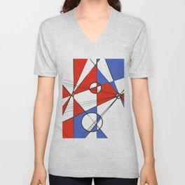 Geometric pattern Pantone classic blue red Unisex V-Neck