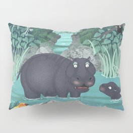 Pygmy Hippos in the Jungle Pillow Sham