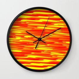 Running luxury red scribble of art waves and yellow highlights. Wall Clock