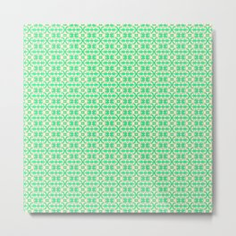 Granny Apple Green Angular Abstract X on Butter Cream Yellow Country Kitchen Design Pattern Metal Print