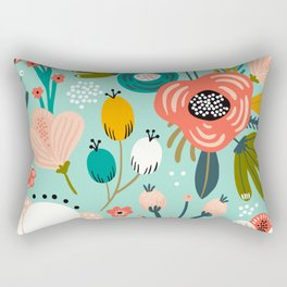 Mid-Century Modern Floral Print With Trendy Leaves Rectangular Pillow