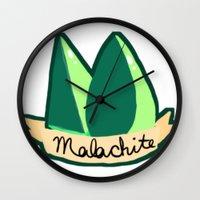 malachite Wall Clocks featuring Malachite by El Jones