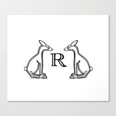 Black and  White  Rabbits Letter R 2017 Canvas Print