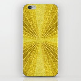 Geometric gold glitter mosaic, diagonal sun rays, gold abstract sparkles iPhone Skin