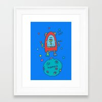 spaceman Framed Art Prints featuring spaceman by PINT GRAPHICS