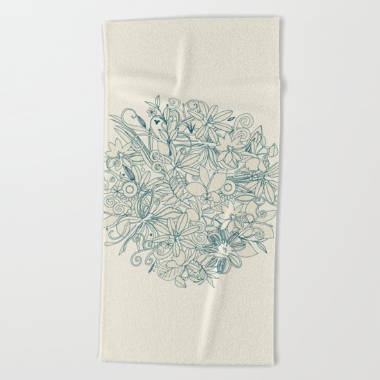 Denim flower circle Beach Towel