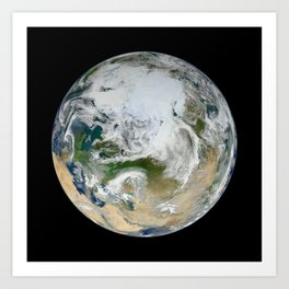 Blue Marble North Pole Art Print