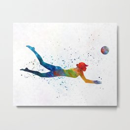 Woman beach volley ball player 01 in watercolor Metal Print