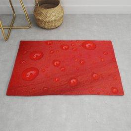 Deep Red Lily Petal and Raindrops Rug