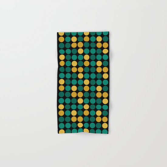 Yellow green polka dots on a black background . Hand & Bath Towel