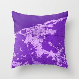 Calais - France Lavender City Map Throw Pillow