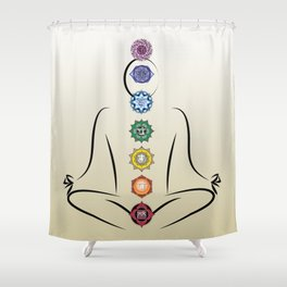 Chakras w gradient background Shower Curtain