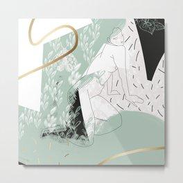 Girl and Moth Metal Print