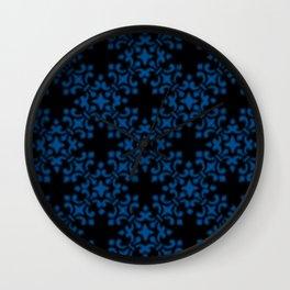 Lapis Blue Vintage Brocade Damask Wall Clock