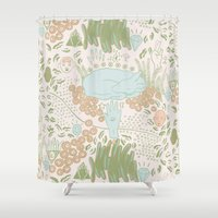 fawn Shower Curtains featuring Fawn by Laura Solitrin