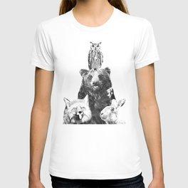 Black and White Woodland Animals T-shirt