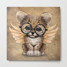 Cheetah Cub with Fairy Wings Wearing Glasses Metal Print