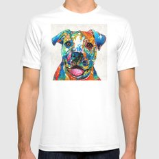 Colorful Dog Pit Bull Art - Happy - By Sharon Cummings X-LARGE White Mens Fitted Tee
