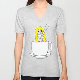 Biondina at coffee time Unisex V-Neck