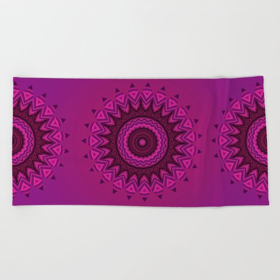 Deep purple mandala Beach Towel