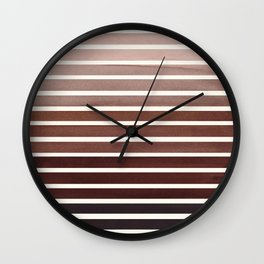 Raw Sienna Mid Century Modern Minimalist Scandinavian Colorful Stripes Geometric Pattern Round Circl Wall Clock