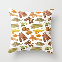 Watercolor Illustration of a set of spices Throw Pillow