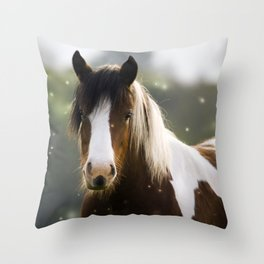 Pony and flies Throw Pillow