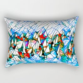 SAILBOAT BAY-Abstract Stained Glass Rectangular Pillow