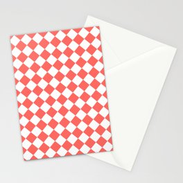 Diamonds - White and Pastel Red Stationery Cards