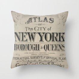 Atlas of The City of New York Borough of Queens Throw Pillow